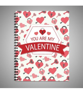 you are my valentine printed notebook