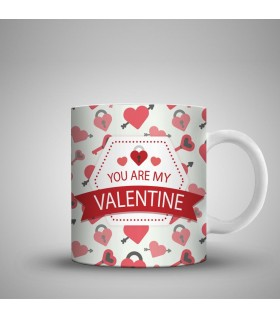 you are my valentine printed mug
