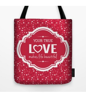 your true love printed tote bag