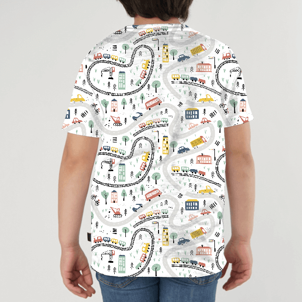 Automobiles Seamless Pattern KIDS ALL-OVER PRINT T-SHIRT