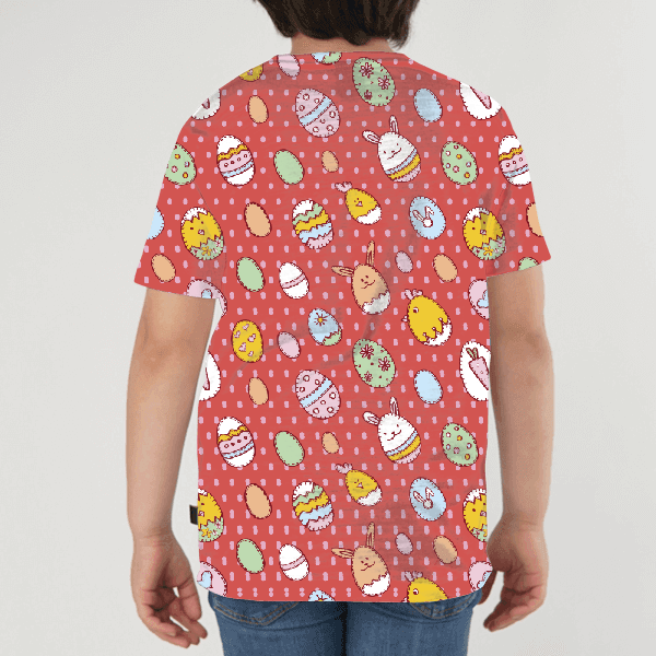 Happy Easter Seamless Pattern KIDS ALL-OVER PRINT T-SHIRT