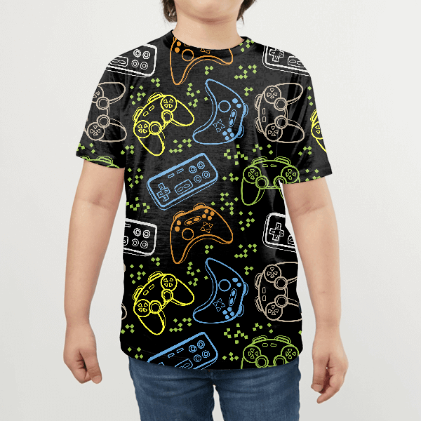 Seamless Bright Pattern With Joysticks KIDS ALL-OVER PRINT T-SHIRT