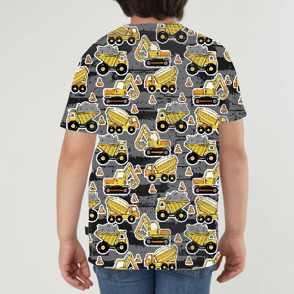 Hand Drawn Construction Machines KIDS ALL-OVER PRINT T-SHIRT
