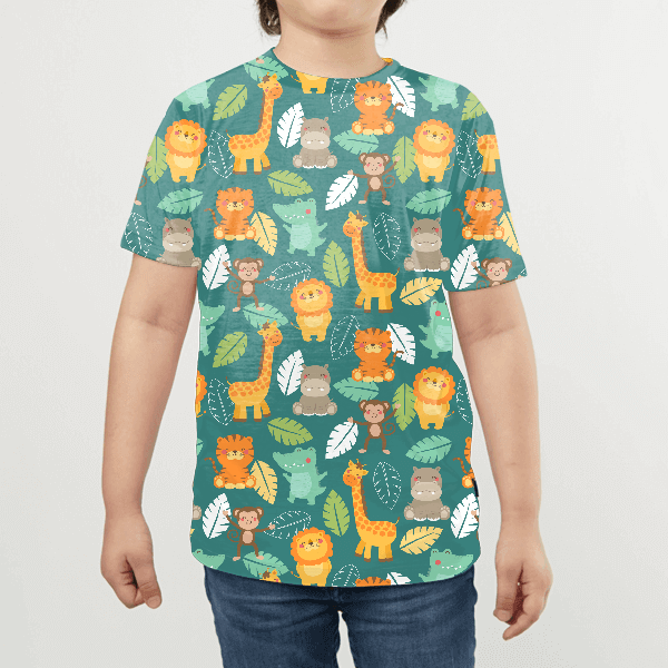 Cute Jungle Animals With Palm Leaf KIDS ALL-OVER PRINT T-SHIRT