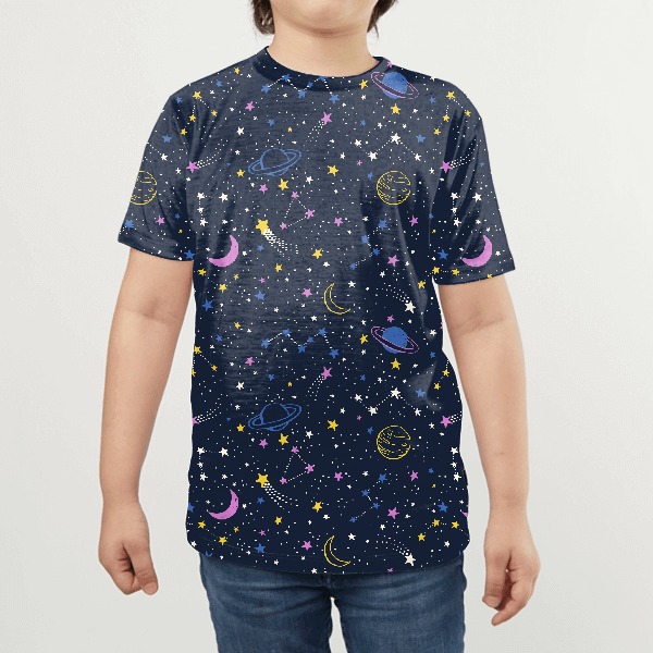 Colorful Space Seamless Pattern KIDS ALL-OVER PRINT T-SHIRT