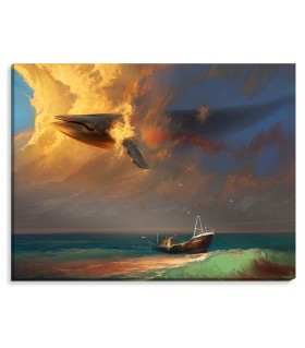 whale in the sky digital canvas FRAME