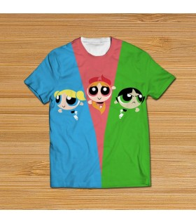 powerpuff girls all over printed t-shirt