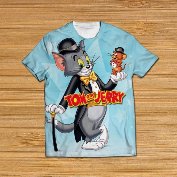 tom and jerry all over printed t-shirt