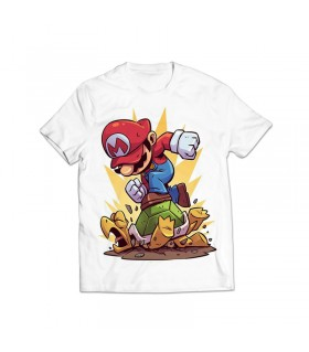 angry mario printed graphic t-shirt