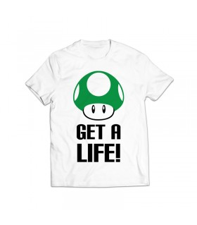 get a life printed graphic t-shirt