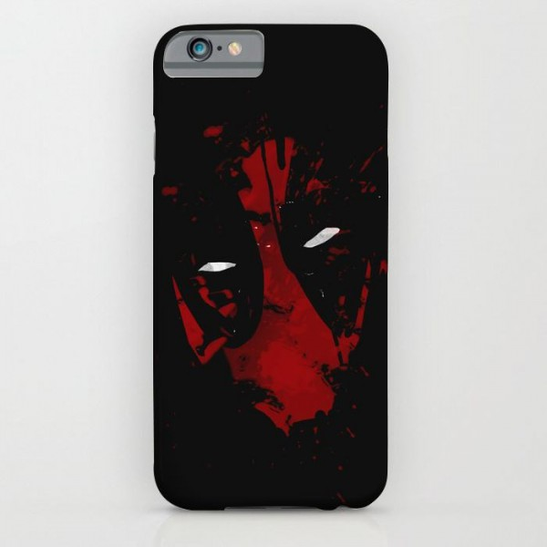 black and red deadpool art printed mobile cover