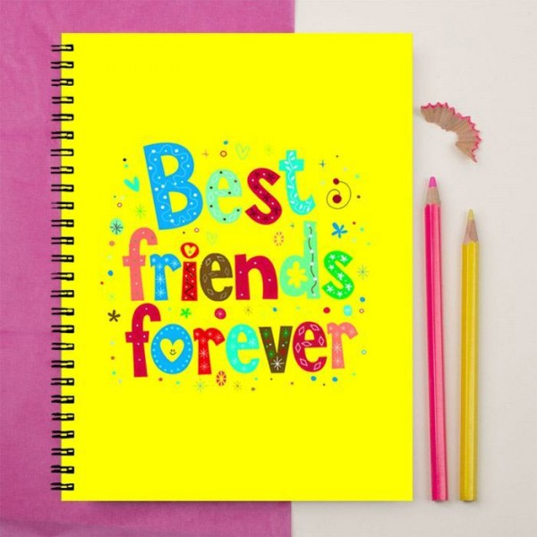 best friend forever  yellow art printed notebook