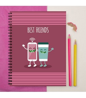 mobile and coffee best friend printed notebook