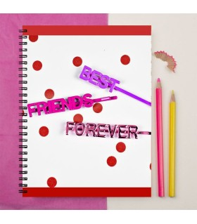 red lining with dot friend printed notebook