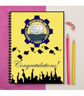 university of engineering and technology lahore logo art printed notebook