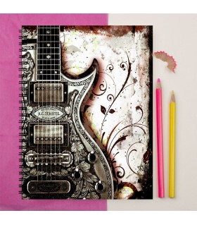 Guitar art printed notebook