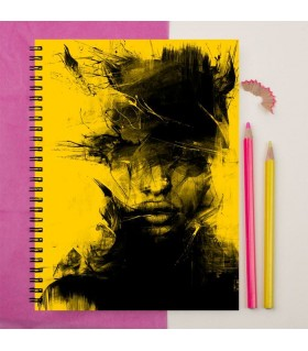 black abstract lady printed notebook