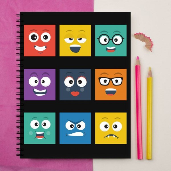 Square Smileys Faces Printed Notebook