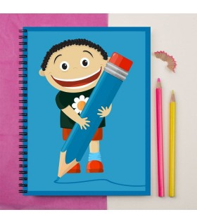 kid with pencil art printed notebook