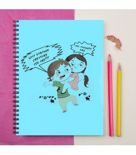 brother and sister fighting printed notebook