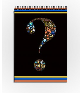 Question mark Word Art printed sketchbook
