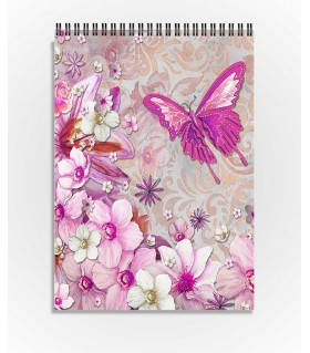 flower butterfly art printed sketchbook