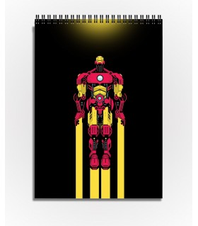 flying iron man art printed sketchbook