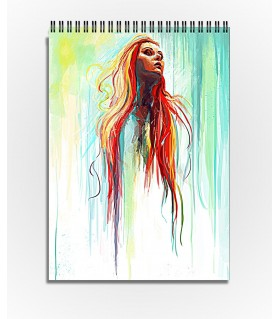 long hair girl water color art printed sketchbook