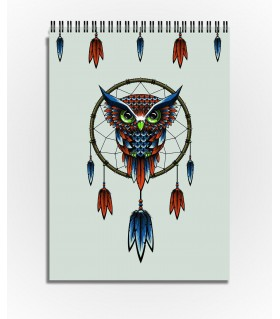 owl bird dreamcatcher art printed sketchbook