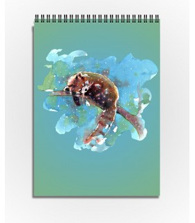red panda water color art printed sktechbook