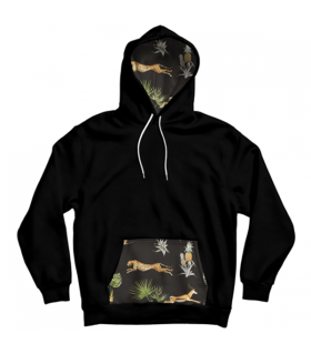 jungle pattern pocket hoodie