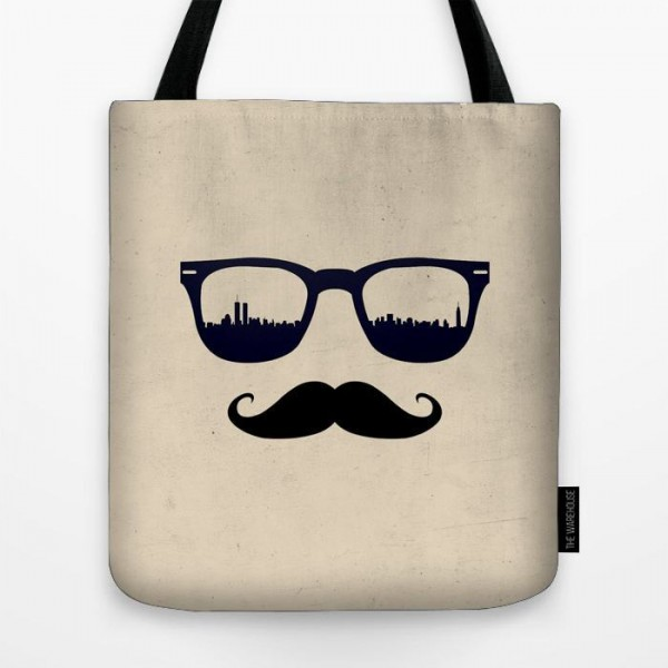 Mustache With Glasses Art Printed Tote Bag