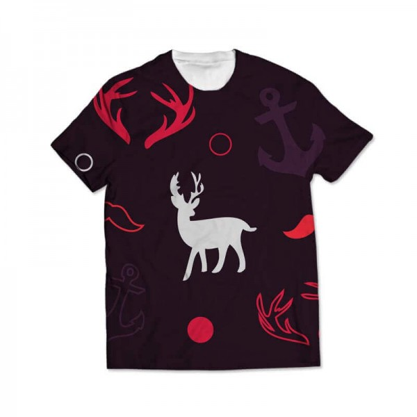deer all over printed t-shirt