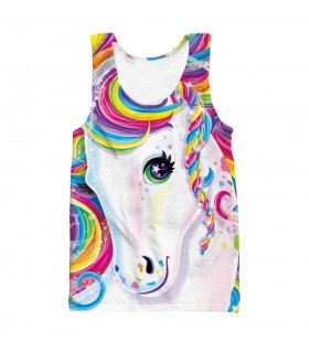 rainbow unicorn all over printed tank top