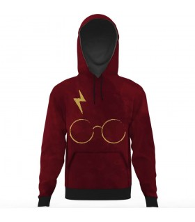 harry potter glasses and scar all over printed hoodie