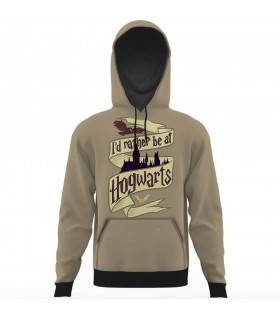 i d rather be at hogwarts all over printed hoodie