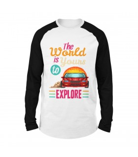 The World Is Yours To Explore Printed Raglan T-Shirt