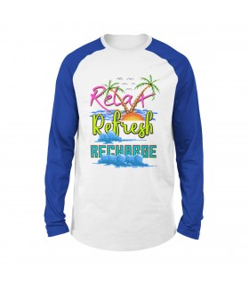 Relax Refresh Recharge Printed Raglan T-Shirt