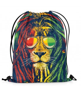 rasta weed printed drawstring bag
