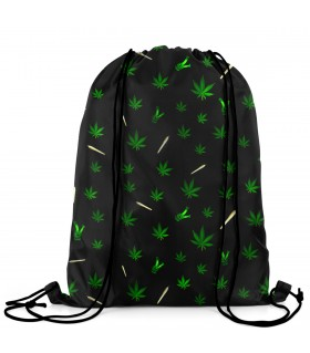 weed printed drawstring bag
