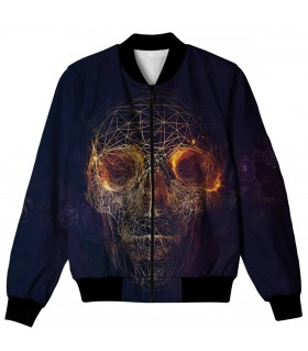 skull lines roses all over printed jacket