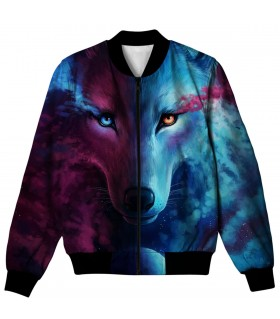 galaxy wolf all over printed jacket