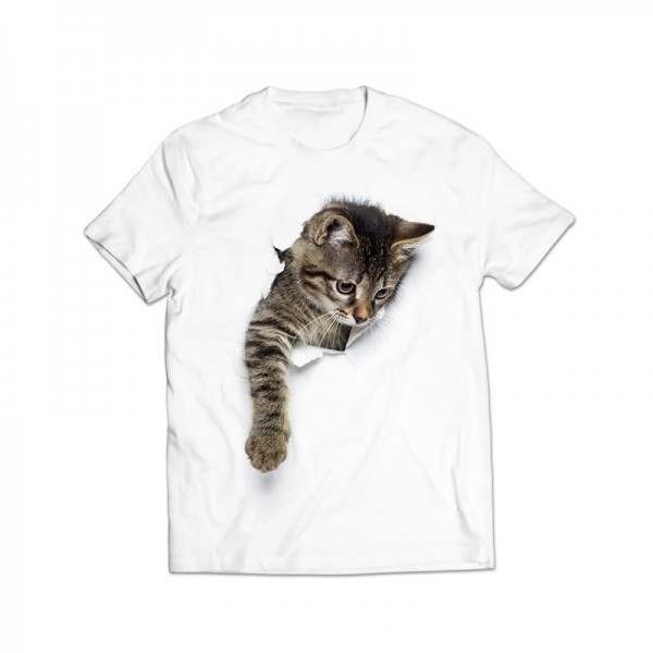 3d cat printed graphic t-shirt
