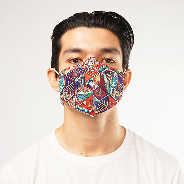 Hexagon Seamless Pattern Cloth Mask