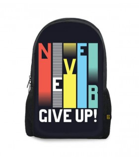 never give up printed backpacks