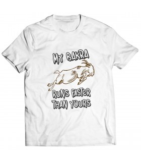 my bakra runs faster printed graphic t-shirt
