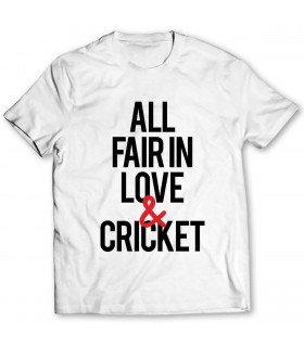 all fair in love and cricket printed graphic t-shirt