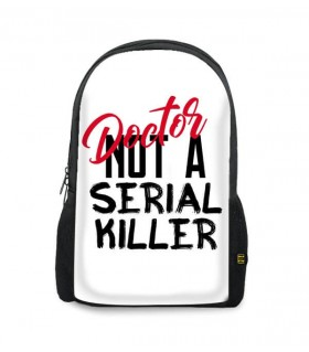 doctor not a serial killer printed backpacks