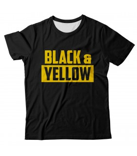 Black and yellow all over printed t-shirt
