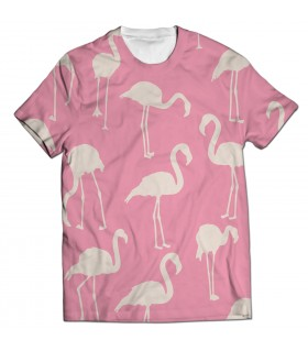 White Flamingos all over printed t-shirt